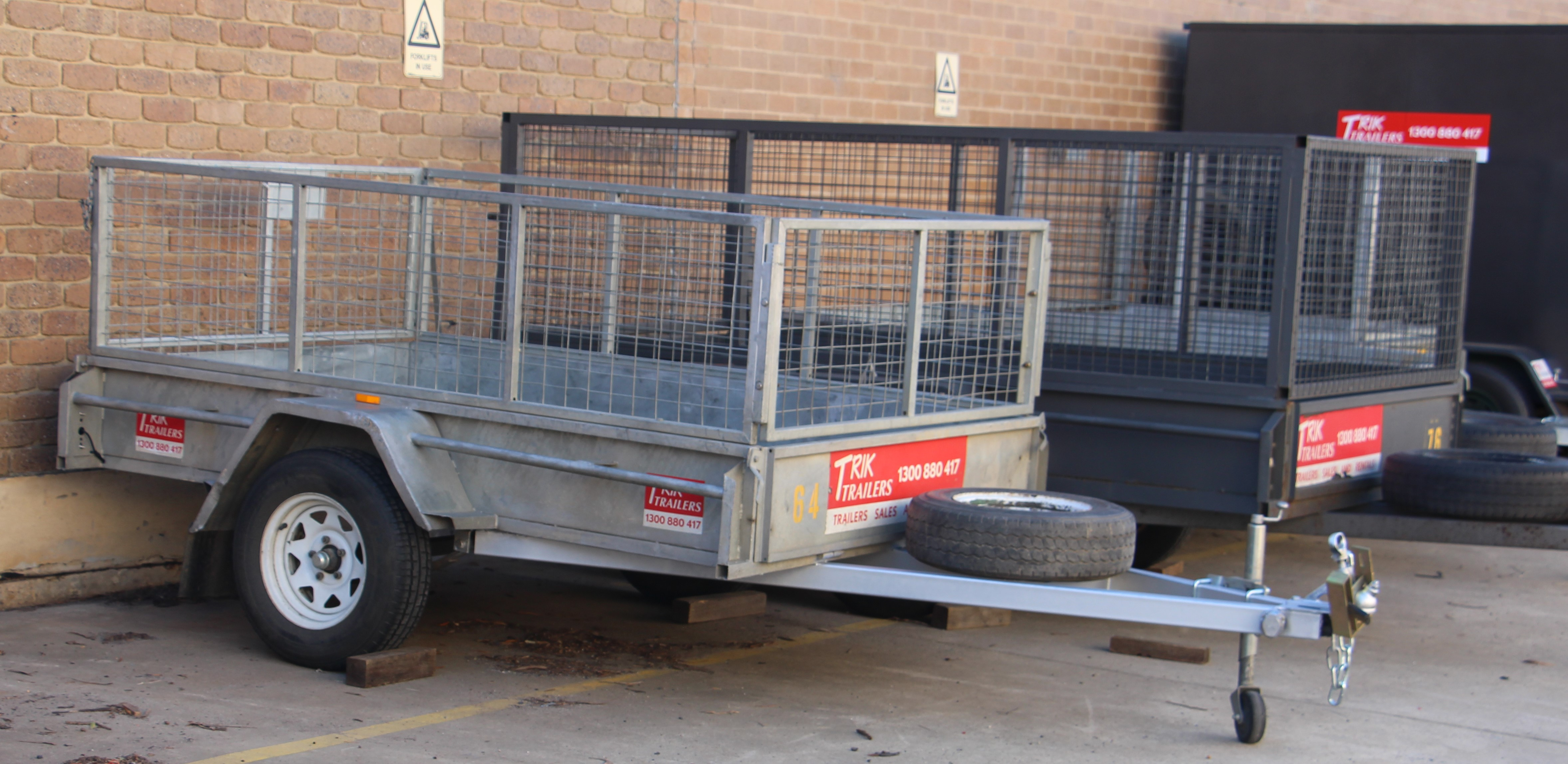 6x4, 750 GVM, 480KG PAYLOAD, SILVER & 10X5 2T GVM, 1400KG PAYLOAD, HIRE CAGE TRAILER